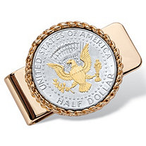 Men's Genuine Silver Half Dollar Coin Two-Tone American Eagle Money Clip in Gold Tone