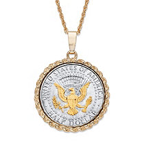 "Men's Genuine Silver Half Dollar American Eagle Coin Pendant Necklace 14k Gold-Plated Chain 22""-25"""