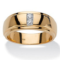 Men's Round Diamond 2-Stone Polished Ring Band 1/10 TCW in 18k Gold over Sterling Silver