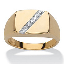 Men's Round Diamond Diagonal Ring 1/10 TCW in 18k Gold over Sterling Silver