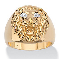 Men's Diamond Accent Lion Head Ring in 18k Gold over Sterling Silver