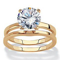 Round Cubic Zirconia 2-Piece Solitaire Bridal Ring Set 3 TCW 14k Gold-Plated