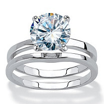 Round Cubic Zirconia 2-Piece Solitaire Bridal Ring Set 3 TCW Platinum-Plated