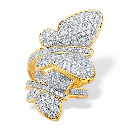 Round Cubic Zirconia Butterfly Wraparound Cocktail Ring 3.60 TCW 14k Gold-Plated at PalmBeach Jewelry