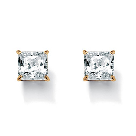Princess-Cut Cubic Zirconia Stud Earrings 3.24 TCW 18k Gold-Plated at PalmBeach Jewelry