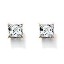 SETA JEWELRY Princess-Cut Cubic Zirconia Stud Earrings 3.24 TCW 18k Gold-Plated