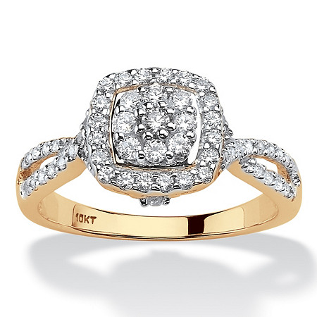 Round Diamond Cluster Halo Engagement Ring 1/2 TCW in Solid 10k Yellow Gold at PalmBeach Jewelry
