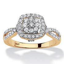 Round Diamond Cluster Halo Engagement Ring 1/2 TCW in Solid 10k Yellow Gold
