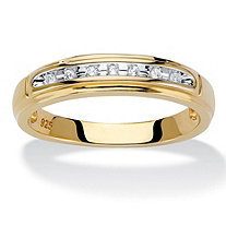 Men's Diamond Accent Single Row Wedding Band in 18k Gold over Sterling Silver 2.5 mm