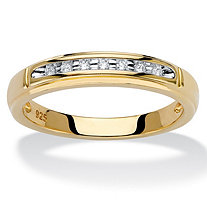 Diamond Accent Single Row Wedding Band in 18k Gold over Sterling Silver 2 mm