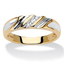Men's Diamond Accent Two-Tone Diagonal Grooved Wedding Band in 18k Gold over Sterling Silver