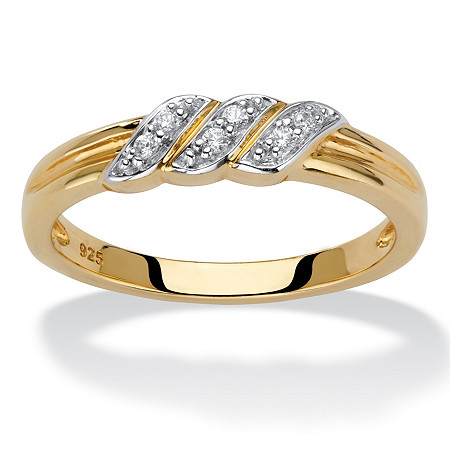 Diamond Accent Diagonal Grooved Wedding Ring in 18k Gold over Sterling Silver at PalmBeach Jewelry