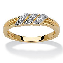 Diamond Accent Diagonal Grooved Wedding Ring in 18k Gold over Sterling Silver