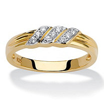 Men's Diamond Wrapped Diagonal Grooved Wedding Ring 1/10 TCW in 18k Gold over Sterling Silver