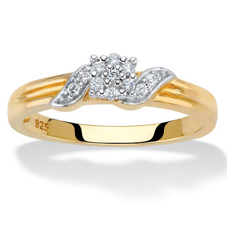 Diamond Cluster Diagonal Grooved Engagement Ring 1/10 TCW in 18k Gold over Sterling Silver at PalmBeach Jewelry