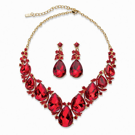 "Teardrop Simulated Red Ruby 2-Piece Earring and Bib Necklace Set in Gold Tone 14""-17"" at PalmBeach Jewelry"