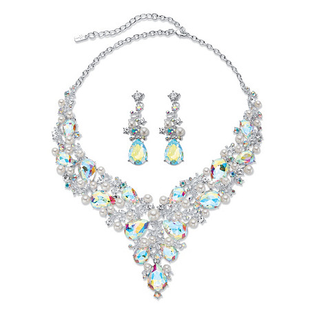 "Pear-Cut Aurora Borealis Crystal and Simulated Pearl 2-Piece Earrings and Bib Necklace Set in Silvertone 18""-20.5"" at PalmBeach Jewelry"