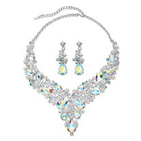 "Pear-Cut Aurora Borealis Crystal and Simulated Pearl 2-Piece Earrings and Bib Necklace Set in Silvertone 18""-20.5"""