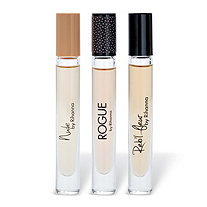 Nude, Rogue and Reb'l Fleur for Women by Rihanna 3-Piece Fragrance Rollerball Gift Set .2 oz. Eau de Parfum