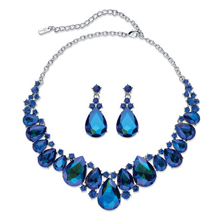 "Pear-Cut Simulated Blue Sapphire 2-Piece Earring and Bib Necklace Set in Silvertone 16""-18.5"" at PalmBeach Jewelry"