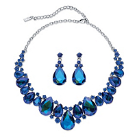 Pear-Cut Simulated Blue Sapphire 2-Piece Earring And Bib Necklace Set