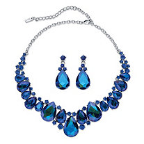 "Pear-Cut Simulated Blue Sapphire 2-Piece Earring and Bib Necklace Set in Silvertone 16""-18.5"""