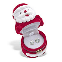 Round Cubic Zirconia Stud Earrings 1.96 TCW in Gold Tone with FREE Red and White Santa Gift Box