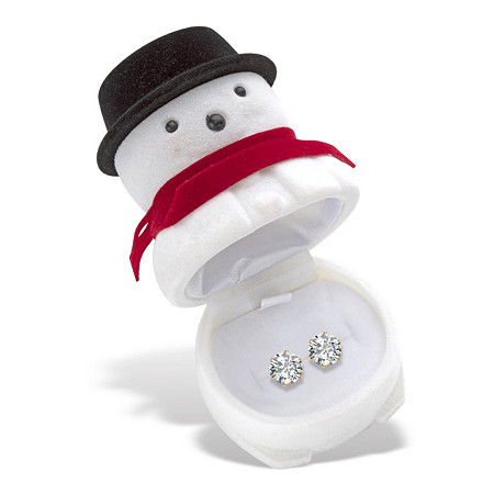 Round Cubic Zirconia Stud Earrings 1.96 TCW in Gold Tone with FREE Frosty the Snowman Gift Box at PalmBeach Jewelry