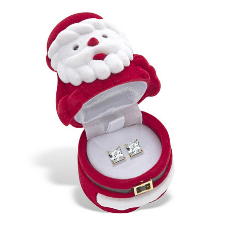 Princess-Cut Cubic Zirconia Stud Earrings 3.24 TCW 14k Gold-Plated with FREE Santa Gift Box at PalmBeach Jewelry