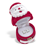 Princess-Cut Cubic Zirconia Stud Earrings 3.24 TCW In Gold Tone With FREE Santa Gift Box ONLY $16.99