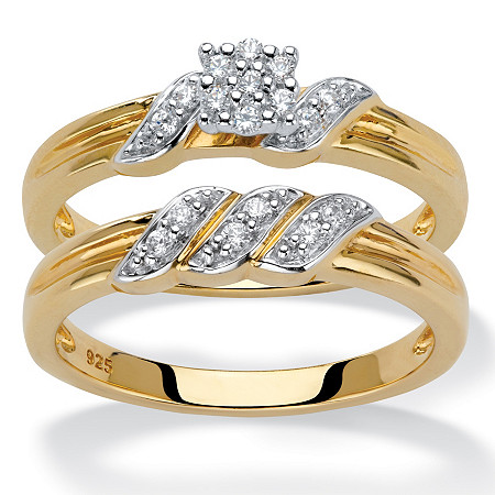 Round Diamond Ribbon-Wrapped 2-Piece Wedding Ring Set 1/6 TCW in 18k Gold over Sterling Silver at PalmBeach Jewelry