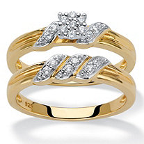 Round Diamond Ribbon-Wrapped 2-Piece Wedding Ring Set 1/6 TCW in 18k Gold over Sterling Silver