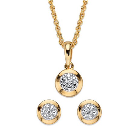 "Diamond Accent Round Halo 2-Piece Stud Earrings and Pendant Necklace Set in 18k Gold Over Sterling Silver 18"" at PalmBeach Jewelry"