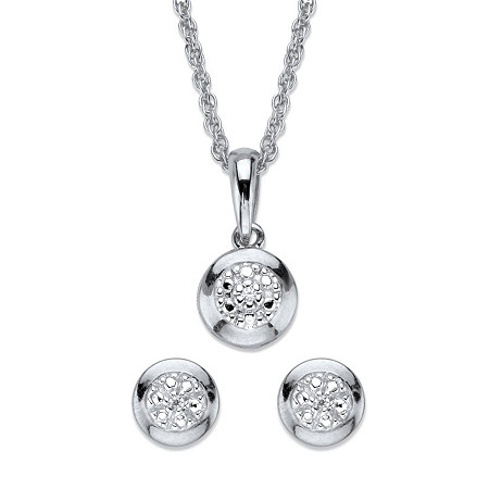 "Diamond Accent Round Halo 2-Piece Stud Earrings and Pendant Necklace Set in Platinum Over Sterling Silver 18"" at PalmBeach Jewelry"