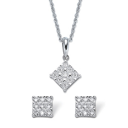 "Diamond Squared Cluster 2-Piece Stud Earring and Pendant Necklace Set 1/4 TCW in Platinum over Sterling Silver 18"" at PalmBeach Jewelry"