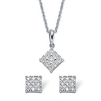 Diamond Squared Cluster 2-Piece Stud Earring and Pendant Necklace Set 1/4 TCW in Platinum over Sterling Silver 18""