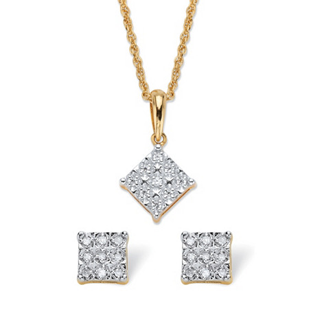 "Diamond Squared Cluster 2-Piece Stud Earring and Pendant Necklace Set 1/4 TCW in 18k Gold over Sterling Silver 18"" at PalmBeach Jewelry"