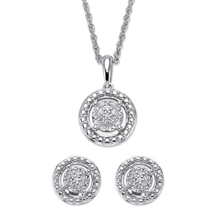 "Round Diamond Floating Halo 2-Piece Stud Earrings and Pendant Necklace Set 1/8 TCW in Platinum over Sterling Silver 18"" at PalmBeach Jewelry"