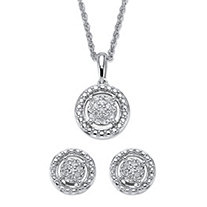 Round Diamond Floating Halo 2-Piece Stud Earrings and Pendant Necklace Set 1/8 TCW in Platinum over Sterling Silver 18""