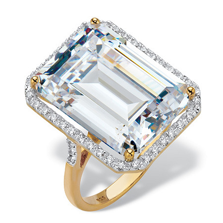 19.57 TCW Emerald-Cut Cubic Zirconia Halo Cocktail Ring 19.57 TCW in 18k Gold over Sterling Silver at PalmBeach Jewelry