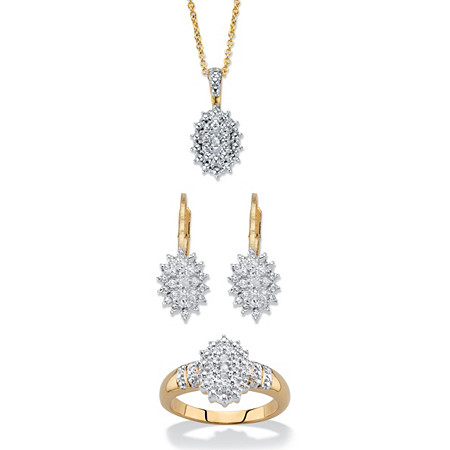 "Round Diamond Cluster Earring and Necklace Set With FREE Bonus Ring! 1/6 TCW 18k Gold-Plated 18""-20"" at PalmBeach Jewelry"