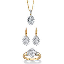 "Round Pave Diamond Cluster 3-Piece Ring, Earring and Necklace Set 1/6 TCW 18"" Gold-Plated 18""-20"""