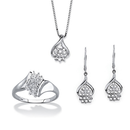"Diamond Accent 3-Piece Cluster Earring, Necklace and Ring Set in Platinum over Sterling Silver 18""-20"" at PalmBeach Jewelry"