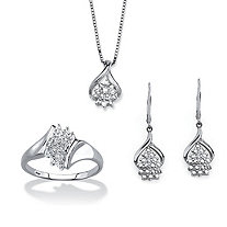 "Diamond Accent 3-Piece Cluster Earring, Necklace and Ring Set in Platinum over Sterling Silver 18""-20"""