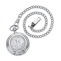 Men's Genuine Commemorative Year to Remember Silver Half-Dollar Coin Pocket Watch in Silvertone 14""