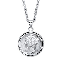 "Genuine Silver Commemorative Coin Pendant Necklace in Silvertone 18""-21"""