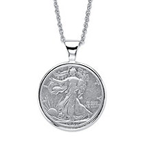 Men's Genuine Silver Half-Dollar Commemorative Coin Pendant Necklace in Silvertone 18