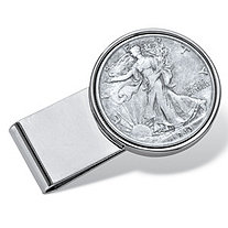 Men's Genuine Silver Half-Dollar Year to Remember Coin Money Clip in Stainless Steel