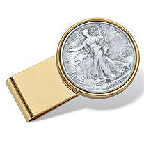 Men's Genuine Silver Half-Dollar Year to Remember Coin Money Clip in Gold Tone Stainless Steel
