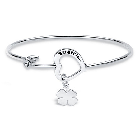 "Crystal Accent ""Believe In...Mom"" Heart and Clover Cuff Bracelet in Silvertone MADE WITH SWAROVSKI ELEMENTS 7"" at PalmBeach Jewelry"